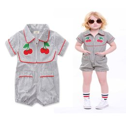 Wholesale Girl Cherries - Baby Cherry Striped Rompers Embroidery Zipper Red Biding Turn-Down Collar Boys Girls Jumpsuits Summer Outfit Short Sleeve 0-24M