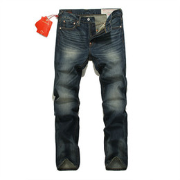 mens designer jeans 38 Coupons - 2019 Mens Designer Jeans Four Seasons Large Size Men's Straight Jeans Washed Scrub Vintage Old Trousers Embroidery Pants Male Size 28-38