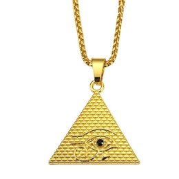 Wholesale Gold Filled Evil Eye - Fashion Men Evil Eye Necklace Hip Hop Jewelry Popular Gold Silver Color 75cm Long Chain Pendant Necklaces For Men