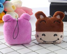 jouets en peluche de couleur bébé Promotion 1X DOLL farci de couleur aléatoire - Mini 4CM hippopotame; Porte-clés en peluche JOUET, pendentif hippopotame en peluche pour bébé