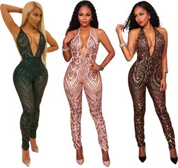 Wholesale Halter Top Jumpsuits Women - Top fashion v neck rompers women jumpsuit halter long pants sequin jumpsuit combinaison femme women rompers SJ3062
