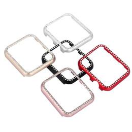 Argentina Caja de reloj de diamante para Apple Watch Band 42 mm 38 mm IWATCH 3 2 1 Marco de aleación de aluminio cubierta de la caja protectora de cristal Suministro