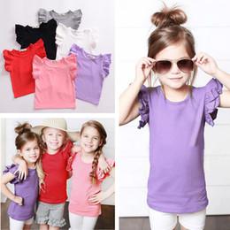 Wholesale Cheap Girls Fashion Clothing - Cheap Kids Girls clothes T-shirts Tops Tees Summer Candy Color Children Girls T-shirt Child petal short sleeve blouse 2031