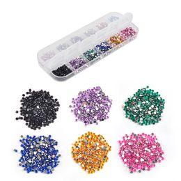 Decorazione acrilica mista del chiodo online-Mix 12 colori 2mm perline cerchio punte di arte del chiodo strass Glitters gel UV acrilico gemme Decorazione con custodia rigida
