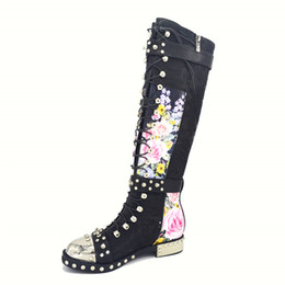 Wholesale Martin Boots Flowers - Studded Buckle Cross Tied Motorcycle Boots For Women Rivet With Metal Decoration Print Flower Leather Knee-High Booties