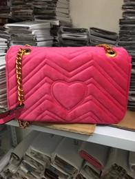 Wholesale Gold Italian Chains - A+ Marmont velvet bag women famous brand shoulder bags real leather chain crossbody bag winter fashion handbags Italian luxury women bags