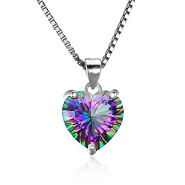 sterling silver black cubic zirconia Promo Codes - Luxury 925 Sterling Silver Heart shaped pendant Rainbow Cubic zirconia CZ Gemstone Charm Box chains For women Fashion Jewelry