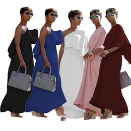 billige knöchellänge beiläufige kleider Rabatt 5 Farben Auf Lager Baumwolle Frauen Schulter langes Kleid 2018 Günstige Cap Sleeves Eine Linie Knöchel Länge Einfache Casual Kleider Mode Party Kleid