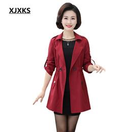 Wholesale Trench Coat Waterproof Woman - XJXKS 2018 Autumn New High Fashion Brand Woman Single Button Trench Coat Waterproof Raincoat Business Outerwear 755
