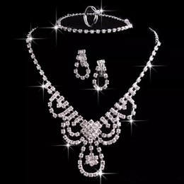 Wholesale Rhinestone Earrings Prom - Cheap Wedding Jewelry Rhinestone Necklace and Earrings Set Earrings and Chain Prom Party Jewellery In Stock Bridal Jewelry Sets