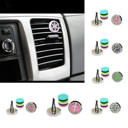 Wholesale Oil Freshener - 30mm Car Perfume Clip Home Essential Oil Diffuser For Car Locket Clip Stainless Steel Car Air Freshener Conditioning Vent Clip HH7-355