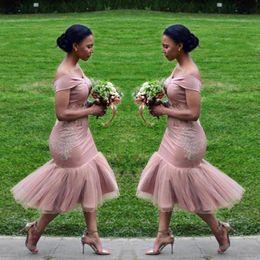 Wholesale african tea - Dusty Pink Mermaid Bridesmaid Dresses 2018 Off The Shoulder Tea Length Short Maid Of Honor Gowns Cheap African Bridesmaid Dress