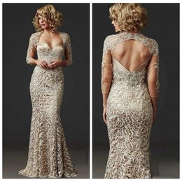 2018 Slim Lace Mermaid Mother Dresses Formal 3/4 Long Sleeve Custom Beads Vestido formal para mujer Hasta el suelo Champagne Madre de vestidos de novia desde fabricantes