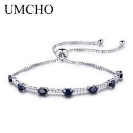 Pulseira de safira azul esterlina on-line-Umcho 2.45ct luxo natural blue sapphire bracelet para as mulheres 925 sterling silver jóias gemstone festa de casamento romântico presente s18101308