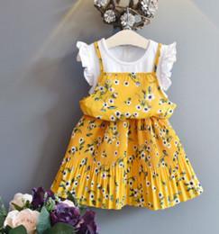 bonito braçadeiras pescoço Desconto Vestidos de verão meninas flor bohemia cintas saias casuais barco pescoço bonito coreano princesa vestidos simples do bebê meninas vestidos de duas peças falsas