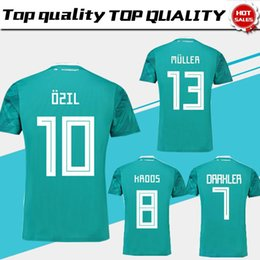 Wholesale germany wholesale - 2018 World Cup Germany Away Green Soccer Jersey#13 MULLER Germany Soccer Shirt #10 OZIL #8 KROOS #5 HUMMELS #17 BOATEN Football Uniforms