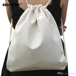 8a5efbcbcdd0 Wholesale- EXCELSIOR Fresh White Women Backpack Cotton Linen Drawstring Bag  Sack Pack Shoulder Bags Ladies Casual Beach School Bag G0761