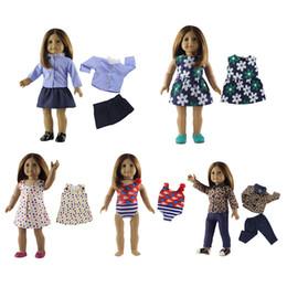 5 pezzi / set vestiti per bambole americane da 18 pollici moda casual baby girl doll abbigliamento set vestito da bambola fai da te costumi da bagno pantaloni abiti da