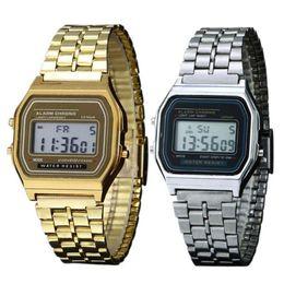 reloj lcd de cuarzo Rebajas FANALA Watch Men Digital Wristwatches banda de acero inoxidable LCD Digital reloj de pulsera Square Quartz Watches hombres relogio masculino