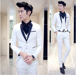 Wholesale royal wedding dress costume - Three piece Suit Men Wedding Dress Man 2018 New Brand Costume Homme Groom Business Formal Mens Suits Wedding Solid 3 colors