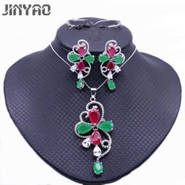 28b53a67664e 2019 color rojo indio JINYAO Moda Color Oro Rojo Verde Collar de Circón  Pendientes Pendientes Conjuntos