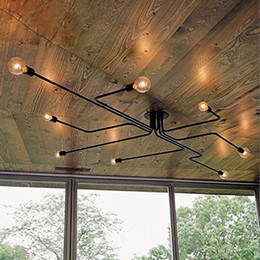 Discount industrial painting - Industrial Ceiling Light,Creative Retro 8-Light Fixture Vintage Metal Semi Flush Mount Painted Finish