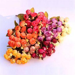 Wholesale Silk Mini Flower Heads - Wholesale-Colorful Silk Flowers Artificial Flowers 15 Heads Mini Rose Home&Garland Decor For Wedding Small Bride Rosa Bouquet Decoration