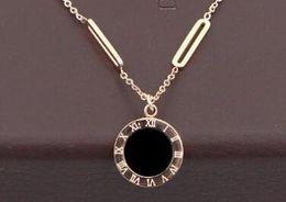 Wholesale roman letter - Korean version of the hollow rectangular accessories black and white double short Roman numerals necklace titanium clavicle necklace