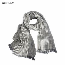 Wholesale Gray Plaid Scarf - GERINLY Brand Winter Scarf Men's Warm Soft Tassel Bufandas Cachecol Gray Plaid Woven Wrinkled Cotton Men Scarves Drop Shipping