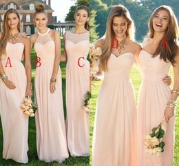 Wholesale Sweetheart Neckline Draped Chiffon Dress - 2018 Pink Navy Cheap Beach Long Bridesmaid Dresses Mixed Neckline Chiffon Summer Blush Bridesmaid Formal Prom Party Dresses with Ruffles