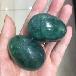 Wholesale Green Fluorite Crystal - natural green fluorite crystal yoni egg Crystal stone oval Eggs healing meditation Eggs Massage Pelvic Kegel Exercise Vaginal Ball