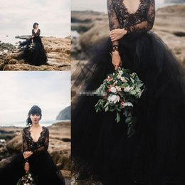 Wholesale Gothic Princess Dress - 2018 Modern Gothic Black Wedding Dresses With Illusion Long Sleeves Lace Tulle Puffy Bohemia Party Formal Bridal Gowns