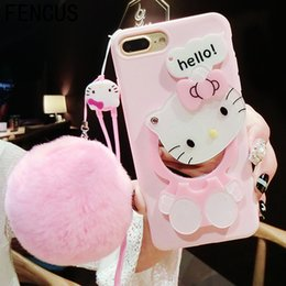 Wholesale Black Cat Iphone Case - Cute 3D Hello Kitty Cat Cartoon with Fur Ball Mirror Case for Iphone6 7 8Plus Soft TPU Back Cover Makeup Phone Cases