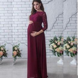 Wholesale lace gown pregnancy dress - Maternity Clothes Dresses Pregnant Women Lace Evening Dress Pregnancy Gown Dress Vestidos Ropa Embarazada