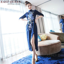 d60a60af8ea77 robe chinoise style moderne Promotion Chinois oriental robes moderne  cheongsam chinois style féminin côté bleu fente