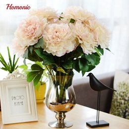 Peonie reali online-Peonie artificiali European Fall Vivid 5 Heads Peonia Fiore di seta Real Touch Wedding Bouquet da sposa Fiori decorativi P30