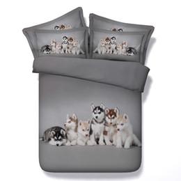 2019 покрывала для аква 3D Husky комплектов постельных принадлежностей собака пододеяльник щенок покрывал серого одеяло покрытия Постельного белья Пододеяльники серебряной крышки кровати для детей детей