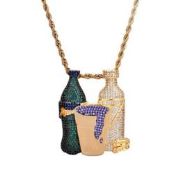 Disegno doppio della catena dell'oro online-New Double Bottle Meme Pendant Catena d'oro Hip Hop Monili di design di gioielli Choker Iced Out Catene Dichiarazione Collane Mens pendente in oro