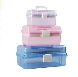 Wholesale Plastic Tool Box Storage - Nail Desktop Storage Box Plastic Scissors Makeup Tools Jewelry Nail Polish Pen Brushes Box Container Manicure Tool S M L