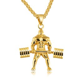 Wholesale Male Necklace Chains - Punk Dumbbells Weightlifting Pendant Necklaces For Men 3 Colors Stainless Steel Box Chain Male Hercules Championship GX1218
