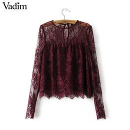 Wholesale European Style Blouses - Women vintage transparent wine lace shirts long sleeve o neck blouse European style ladies fashion brand tops blusas LT1503