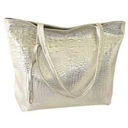 Wholesale Large Metallic Gold Handbag - Wholesale-TEXU Crocodile faux leather Women Bag tote fashion Tote Handbag large capacity bolsa feminina Casual Tote Shopping Bag