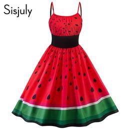 Deutschland Weinlesekleid-Sommerfrauen strapless kleidet elastische Taille Wassermelone gedrucktes Bügel a-line rotes 2018 niedliches schickes Mädchen Retro- Kleid Versorgung