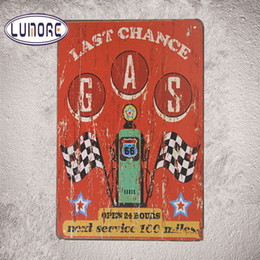 Wholesale Metal Sign Printing - Last Chance Gas Open 24 Hours Tin Sign Metal Art Print Wall Decor Garage B26