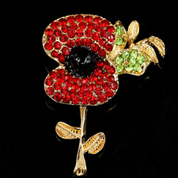 large flower corsage brooch Promo Codes - New Luxury Red Crystal Poppy Flower Brooches Bijoux Large Enamel Corsage Wedding Party Pin Brooch For Women Clothing Accessories