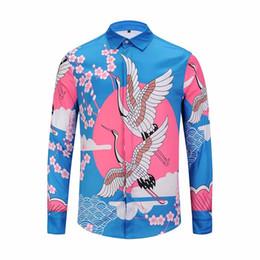 рубашка для галактики с воротником Скидка Оптовая КТВ дизайнер одежды мужская галактика лебедь цветок печати с длинными рукавами 3D рубашка барокко печати Медуза рубашка