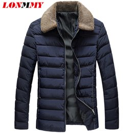 Wholesale Men Navy Parka - LONMMY 3XL Winter jackets mens Fake liner collar parka men Thick plush mens overcoat Outerwear Fashion Black Navy 2018 New