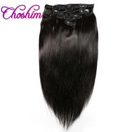 Pinces à cheveux extensions femmes noires en Ligne-Clip dans les extensions de cheveux humains Péruvienne Slove Clip droit dans les extensions de cheveux Clip naturel 1b dans les extensions de cheveux humains pour les femmes noires