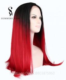 peinados parte media Rebajas Pelucas de pelo recto largo rojo Peluca delantera de encaje sintético 180% Densidad Parte media Ombre Peluca de encaje recta Peinado de aspecto natural para África
