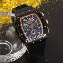 Relojes deportivos de color para hombre online-Nuevo RM011 RM11 Flyback Chrono Negro PVD Dos tonos Esqueleto Dial Fecha grande Reloj para hombre automático Correa de goma negra Relojes deportivos 8 colores 11a1
